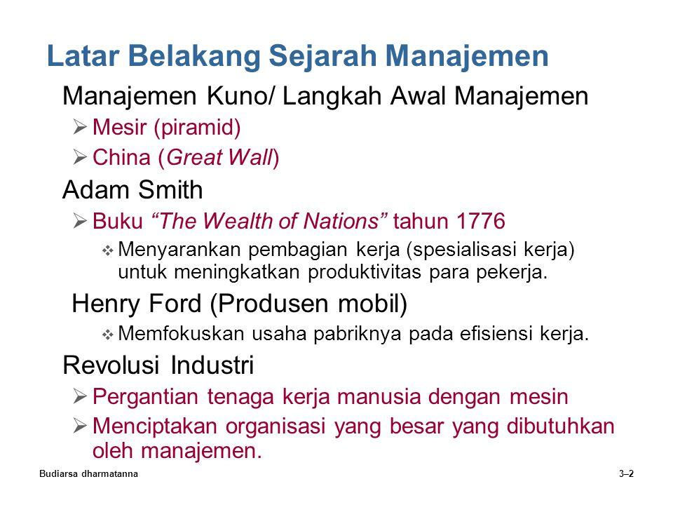 Budiarsa dharmatanna3–2 Latar Belakang Sejarah Manajemen Manajemen Kuno/ Langkah Awal Manajemen  Mesir (piramid)  China (Great Wall) Adam Smith  Bu