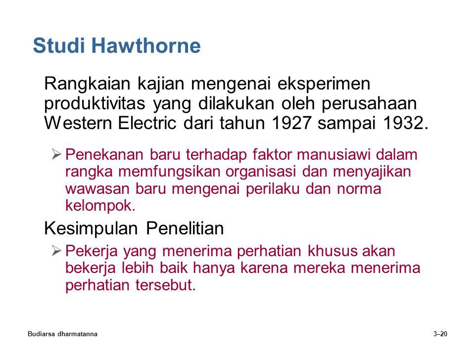 Budiarsa dharmatanna3–20 Studi Hawthorne Rangkaian kajian mengenai eksperimen produktivitas yang dilakukan oleh perusahaan Western Electric dari tahun