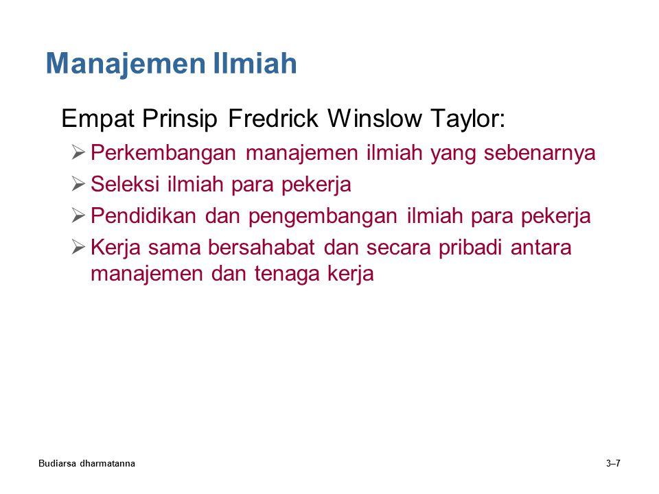 Budiarsa dharmatanna3–7 Manajemen Ilmiah Empat Prinsip Fredrick Winslow Taylor:  Perkembangan manajemen ilmiah yang sebenarnya  Seleksi ilmiah para