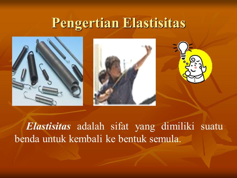 Pengertian Elastisitas Elastisitas adalah sifat yang dimiliki suatu benda untuk kembali ke bentuk semula.