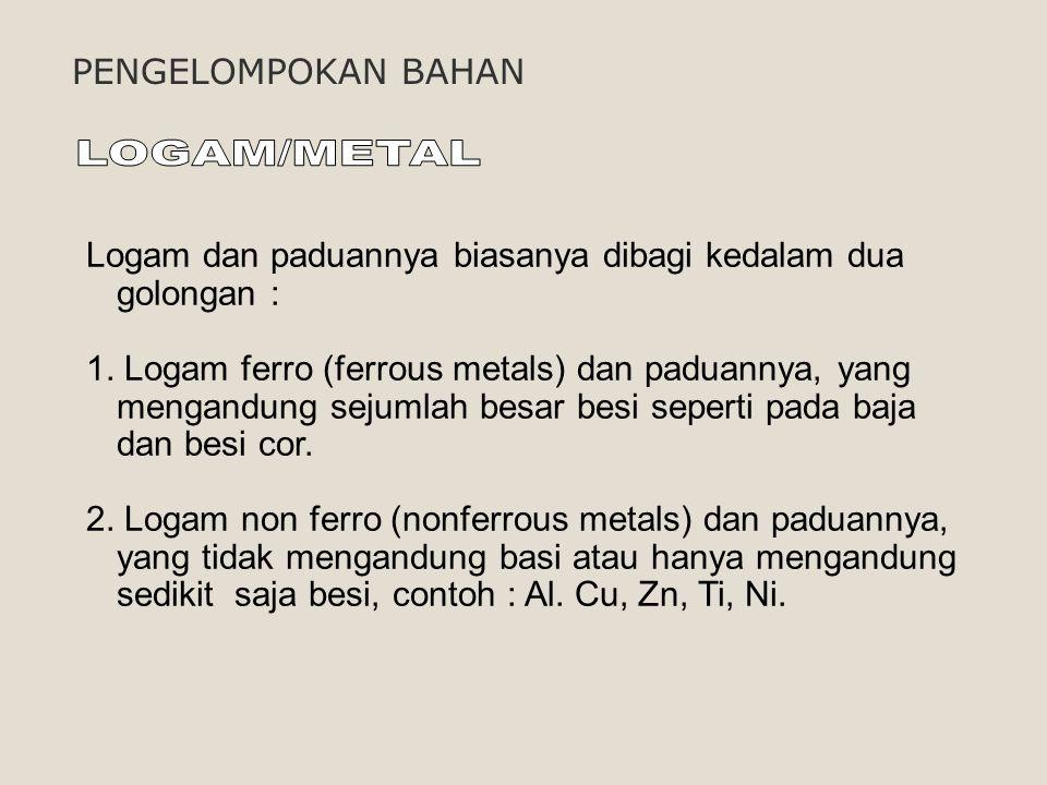 Logam dan paduannya biasanya dibagi kedalam dua golongan : 1. Logam ferro (ferrous metals) dan paduannya, yang mengandung sejumlah besar besi seperti