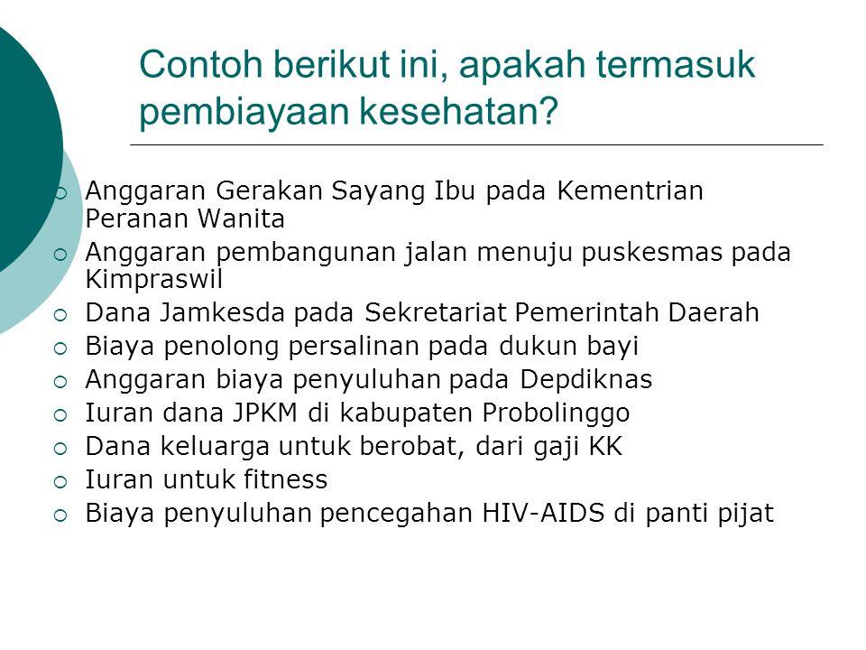 Definisi pembiayaan pelayanan kesehatan  Mobilisasi biaya/dana untuk pelayanan kesehatan  Alokasi biaya untuk wilayah dan kelompok penduduk yang sec