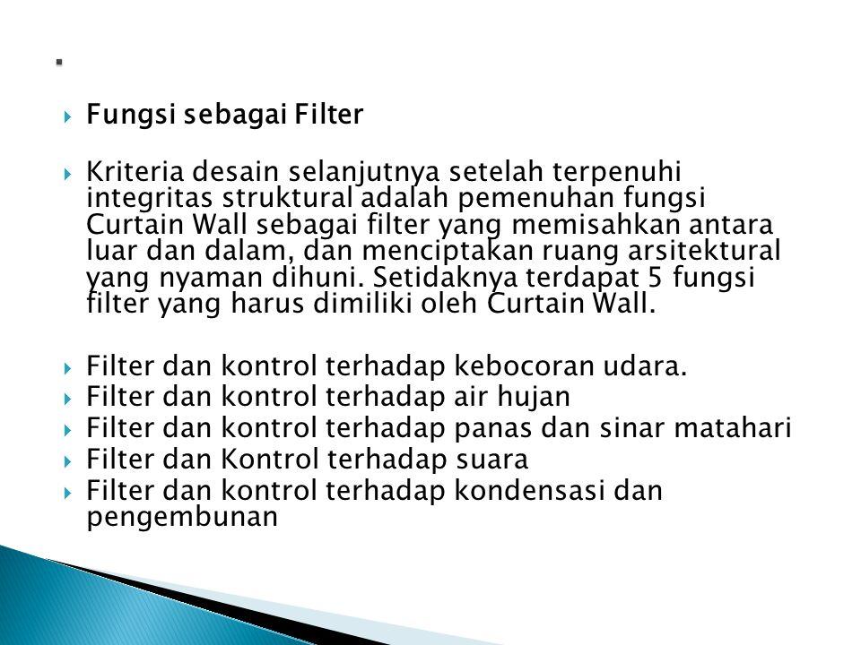  Fungsi sebagai Filter  Kriteria desain selanjutnya setelah terpenuhi integritas struktural adalah pemenuhan fungsi Curtain Wall sebagai filter yang