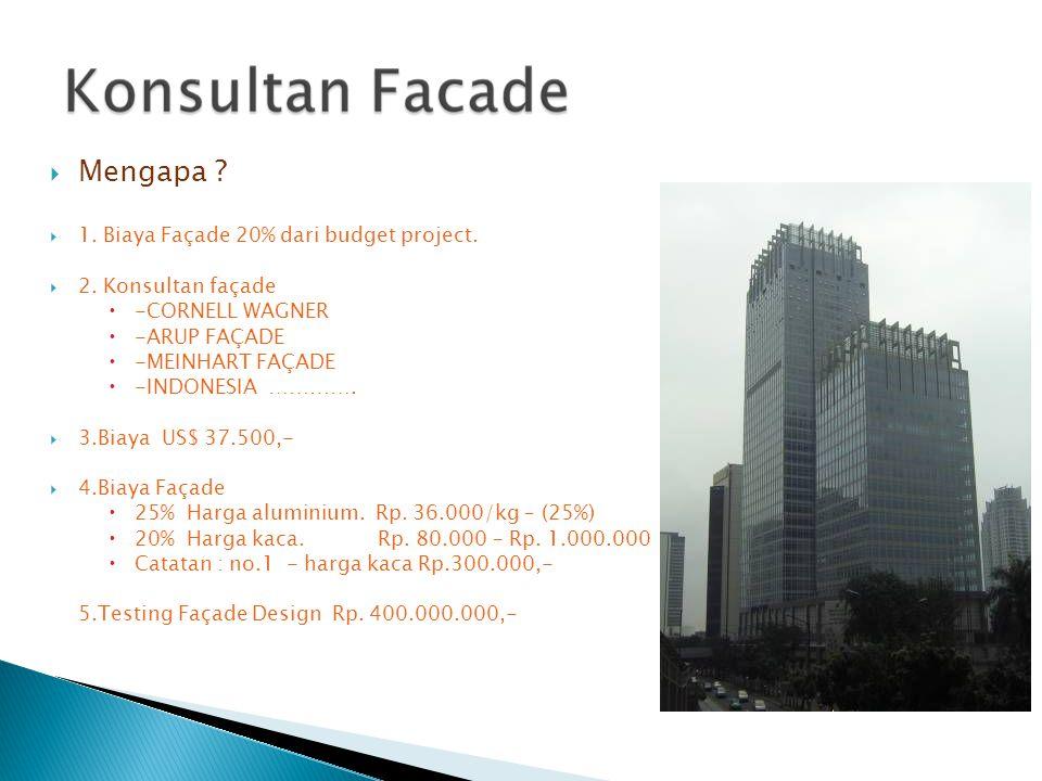  Mengapa ?  1. Biaya Façade 20% dari budget project.  2. Konsultan façade  -CORNELL WAGNER  -ARUP FAÇADE  -MEINHART FAÇADE  -INDONESIA …………. 