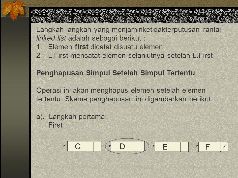Langkah-langkah yang menjaminketidakterputusan rantai linked list adalah sebagai berikut : 1.Elemen first dicatat disuatu elemen 2.L.First mencatat el
