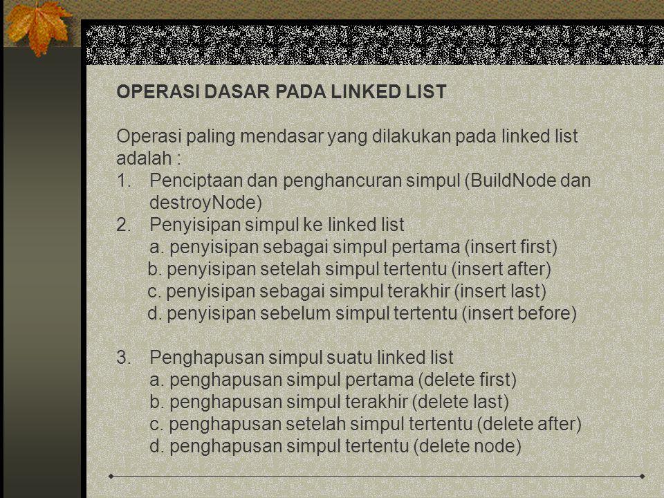 OPERASI DASAR PADA LINKED LIST Operasi paling mendasar yang dilakukan pada linked list adalah : 1.Penciptaan dan penghancuran simpul (BuildNode dan destroyNode) 2.Penyisipan simpul ke linked list a.