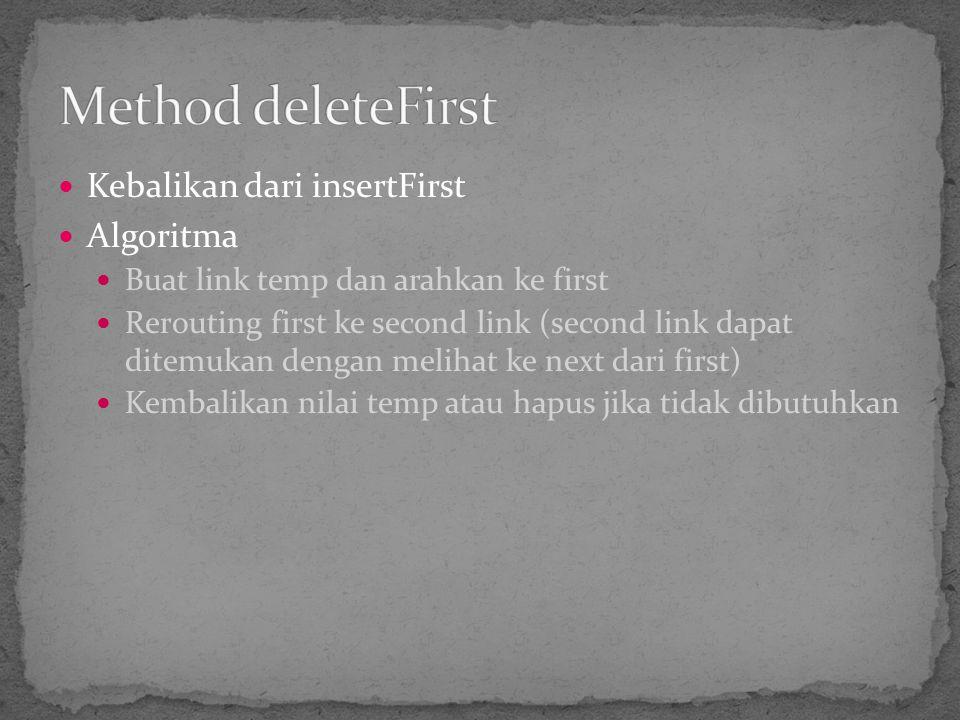Kebalikan dari insertFirst Algoritma Buat link temp dan arahkan ke first Rerouting first ke second link (second link dapat ditemukan dengan melihat ke
