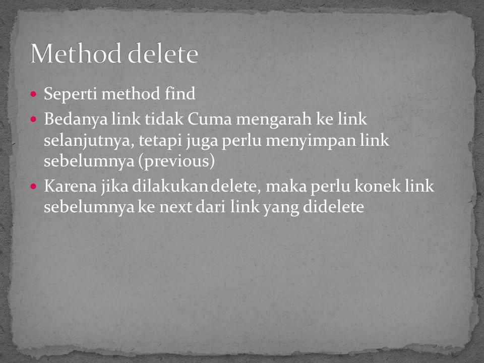 Seperti method find Bedanya link tidak Cuma mengarah ke link selanjutnya, tetapi juga perlu menyimpan link sebelumnya (previous) Karena jika dilakukan