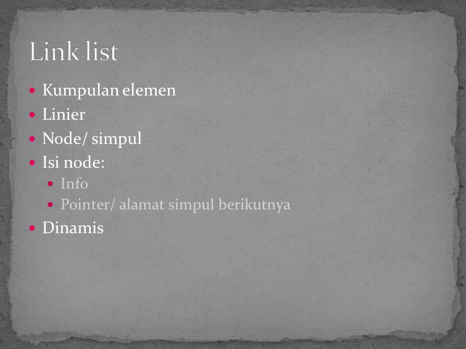 Kumpulan elemen Linier Node/ simpul Isi node: Info Pointer/ alamat simpul berikutnya Dinamis