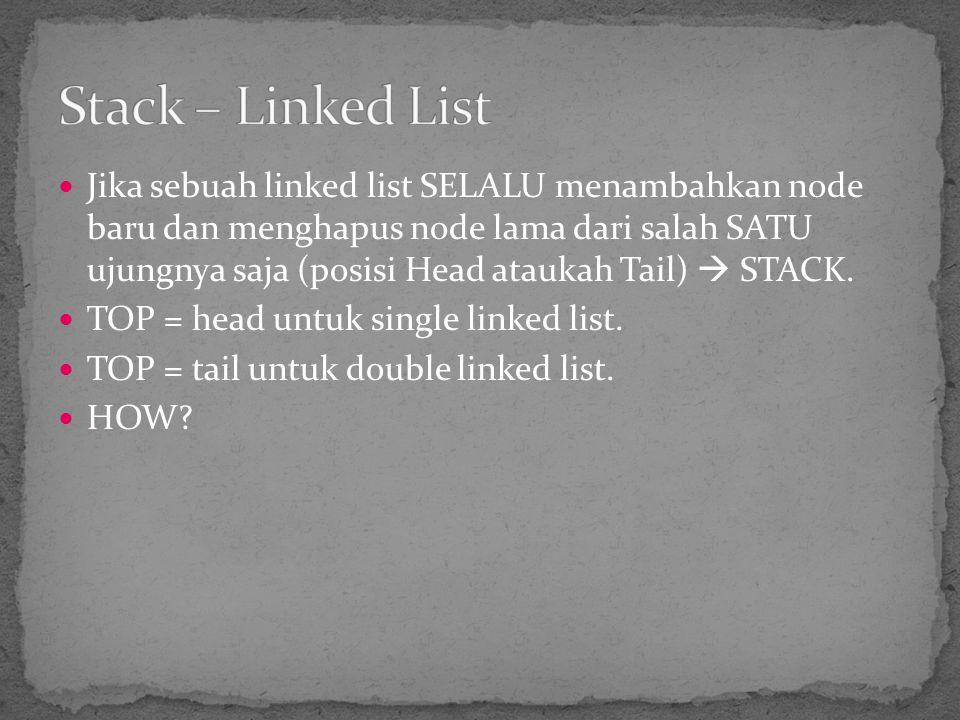 Jika sebuah linked list SELALU menambahkan node baru dan menghapus node lama dari salah SATU ujungnya saja (posisi Head ataukah Tail)  STACK. TOP = h