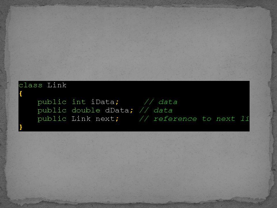 Menampilkan seluruh isi node/simpul/link dari linked list Algoritma Buat link current dan arahkan ke first Ganti current ke link selanjutnya Gunakan fungsi displayLink dari class link Lakukan hingga current = null (akhir list)