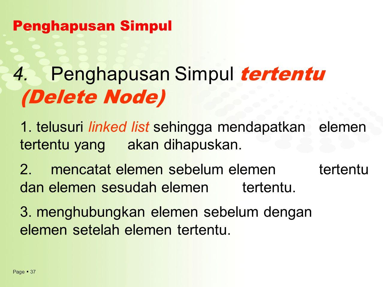 Page  37 Penghapusan Simpul 4. Penghapusan Simpul tertentu (Delete Node) 1. telusuri linked list sehingga mendapatkan elemen tertentu yang akan dihap