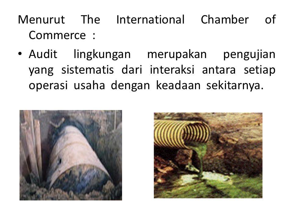 Menurut The International Chamber of Commerce : Audit lingkungan merupakan pengujian yang sistematis dari interaksi antara setiap operasi usaha dengan