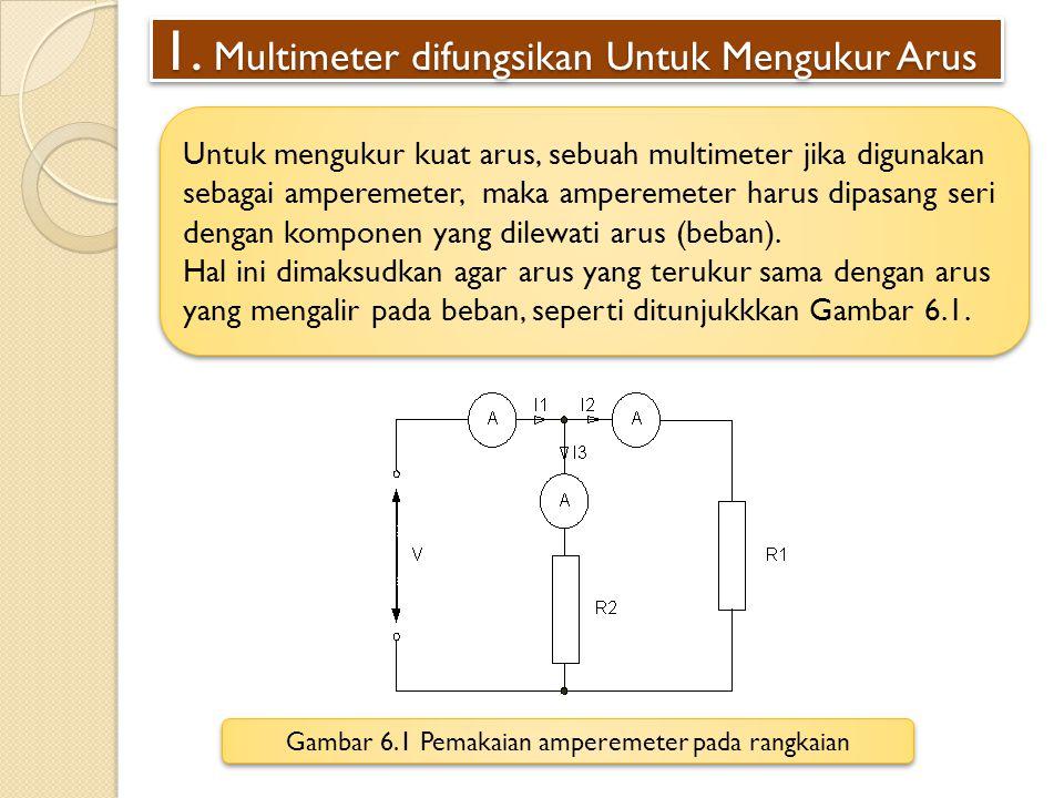 Multimeter difungsikan Untuk Mengukur Arus (Lanjutan) Pada multimeter terdapat banyak skala pengukuran yang dapat dipilih, berikut dapat dilihat contoh pembacaan arus yang diukur pada sebuah komponen.