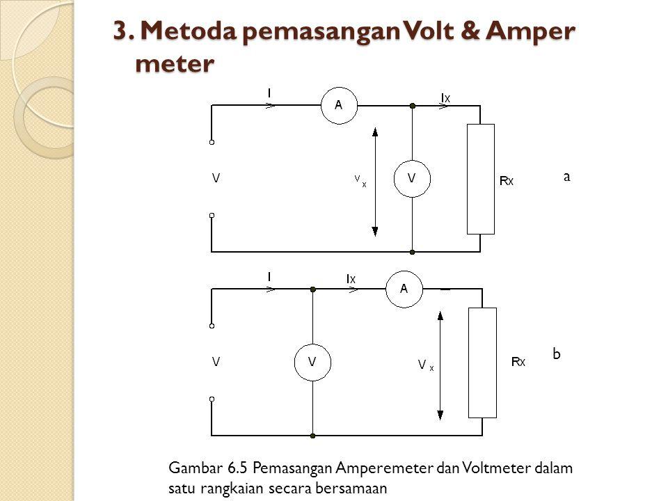 3. Metoda pemasangan Volt & Amper meter a b Gambar 6.5 Pemasangan Amperemeter dan Voltmeter dalam satu rangkaian secara bersamaan