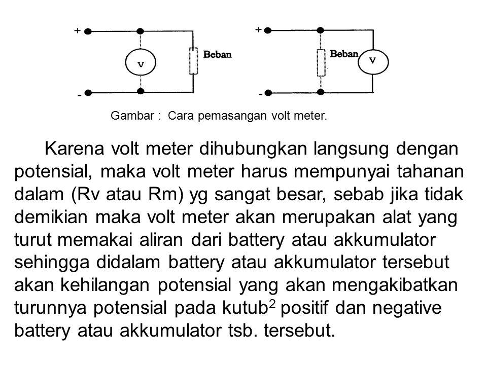 Gambar : Cara pemasangan volt meter.