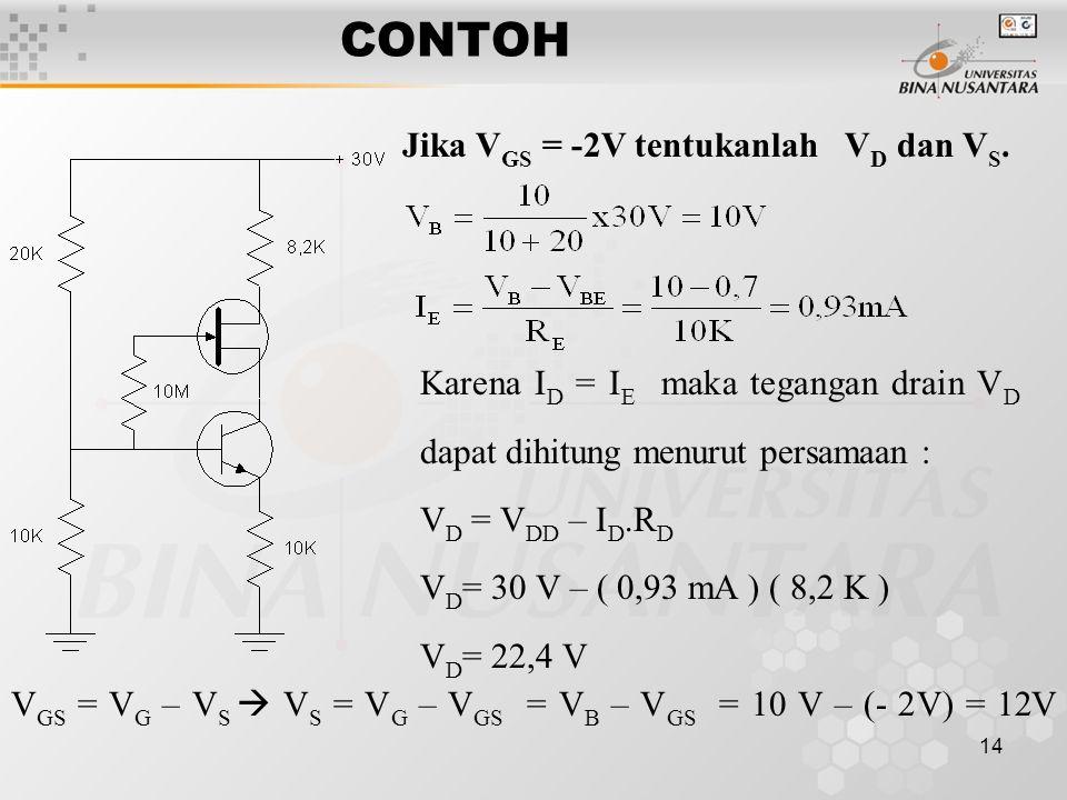 14 CONTOH Jika V GS = -2V tentukanlah V D dan V S.