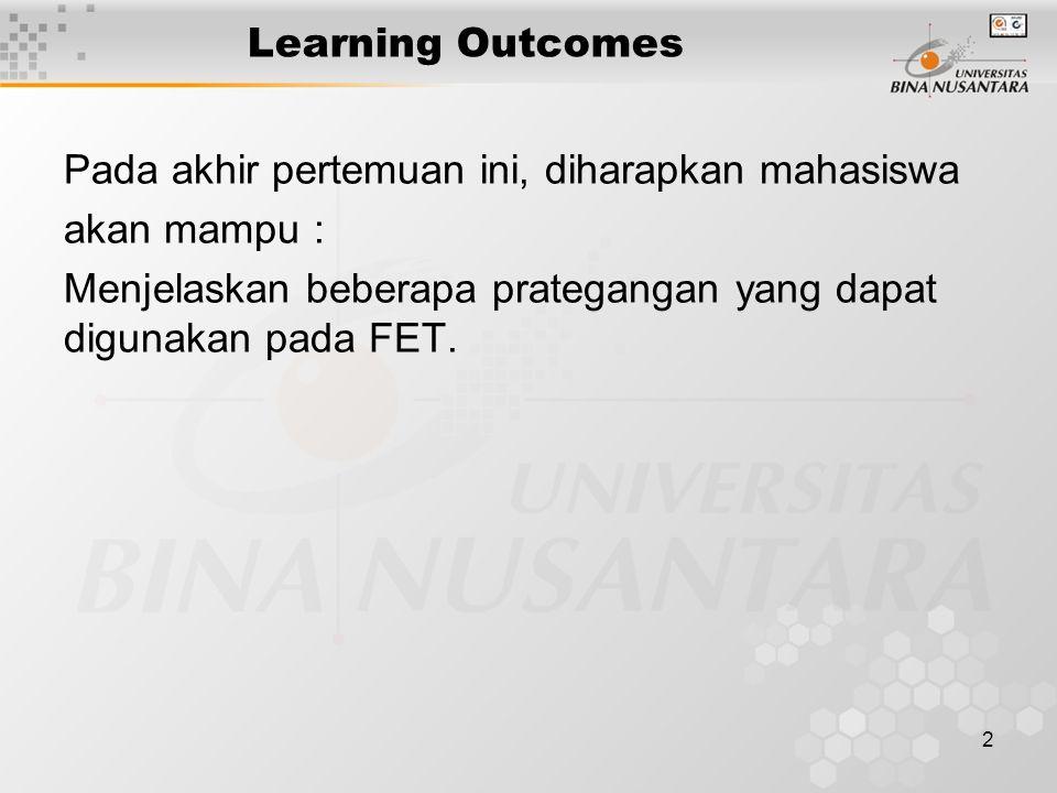 2 Learning Outcomes Pada akhir pertemuan ini, diharapkan mahasiswa akan mampu : Menjelaskan beberapa prategangan yang dapat digunakan pada FET.