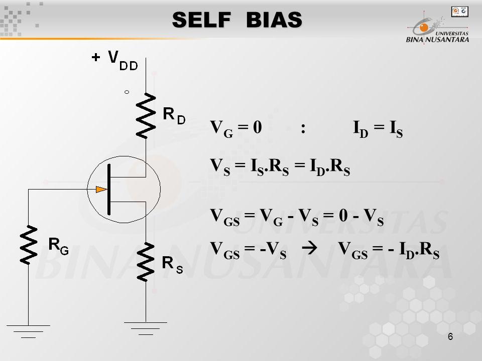 6 SELF BIAS V G = 0 : I D = I S V S = I S.R S = I D.R S V GS = V G - V S = 0 - V S V GS = -V S  V GS = - I D.R S