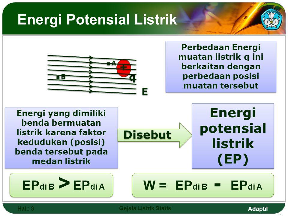 Adaptif Energi Potensial Listrik Hal.: 3 Gejala Listrik Statis Perbedaan Energi muatan listrik q ini berkaitan dengan perbedaan posisi muatan tersebut