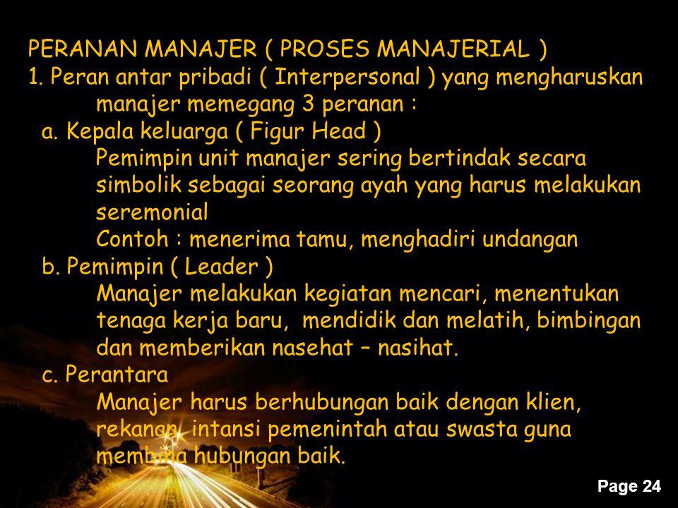 Page 24 PERANAN MANAJER ( PROSES MANAJERIAL ) 1. Peran antar pribadi ( Interpersonal ) yang mengharuskan manajer memegang 3 peranan : a. Kepala keluar