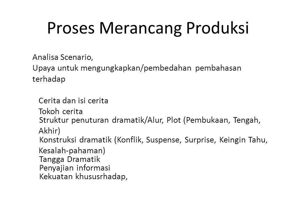 Proses Merancang Produksi Analisa Scenario, Upaya untuk mengungkapkan/pembedahan pembahasan terhadap Cerita dan isi cerita Tokoh cerita Struktur penut