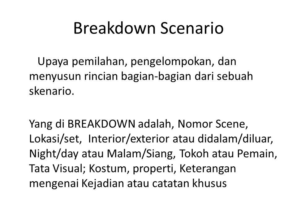 Breakdown Scenario Upaya pemilahan, pengelompokan, dan menyusun rincian bagian-bagian dari sebuah skenario. Yang di BREAKDOWN adalah, Nomor Scene, Lok