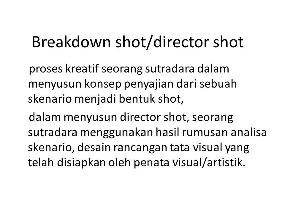 Breakdown shot/director shot proses kreatif seorang sutradara dalam menyusun konsep penyajian dari sebuah skenario menjadi bentuk shot, dalam menyusun