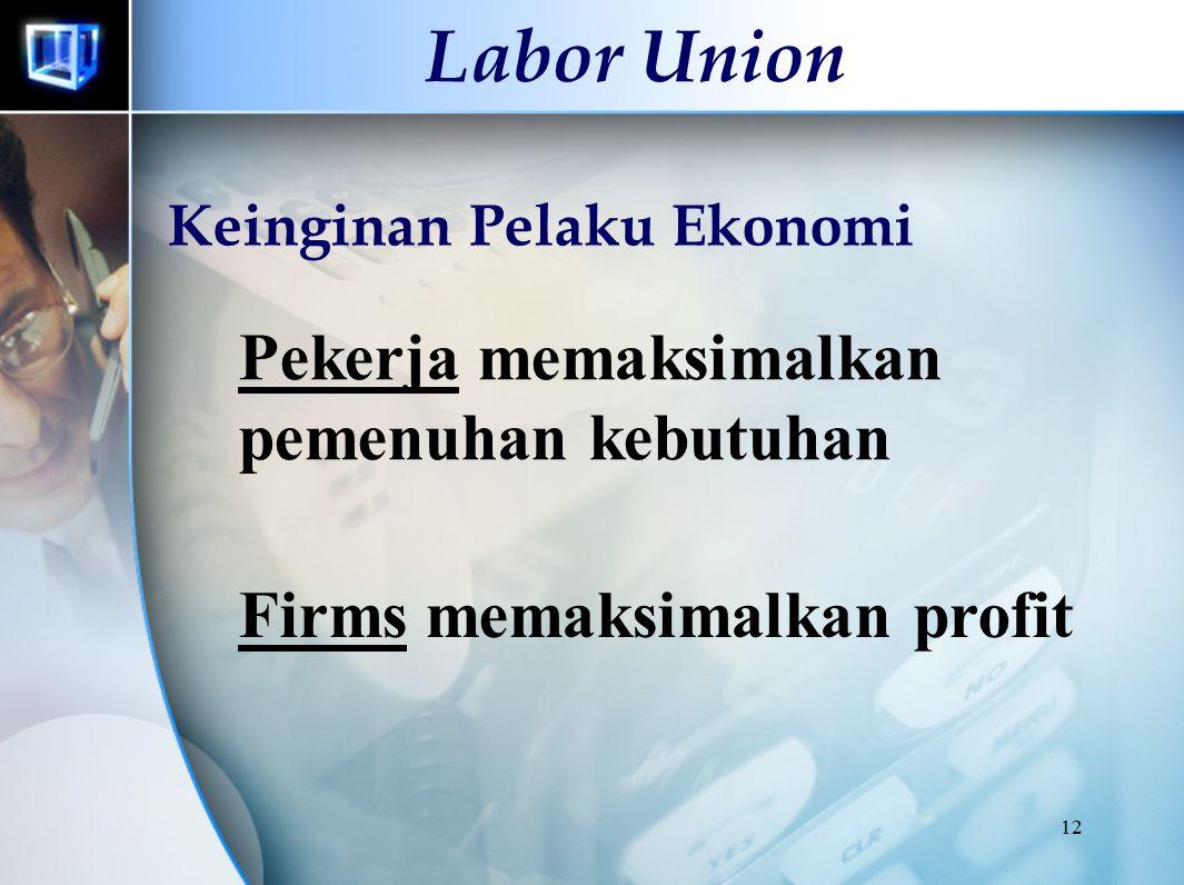 12 Labor Union Pekerja memaksimalkan pemenuhan kebutuhan Keinginan Pelaku Ekonomi Firms memaksimalkan profit