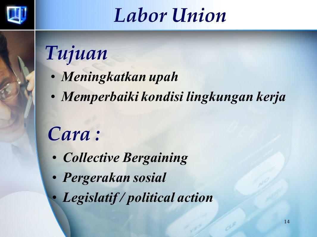14 Labor Union Tujuan Meningkatkan upah Memperbaiki kondisi lingkungan kerja Cara : Collective Bergaining Pergerakan sosial Legislatif / political act