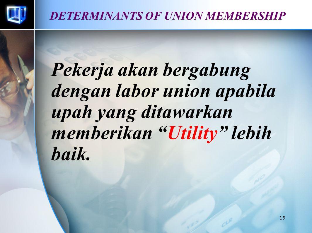 """15 DETERMINANTS OF UNION MEMBERSHIP Pekerja akan bergabung dengan labor union apabila upah yang ditawarkan memberikan """"Utility"""" lebih baik."""