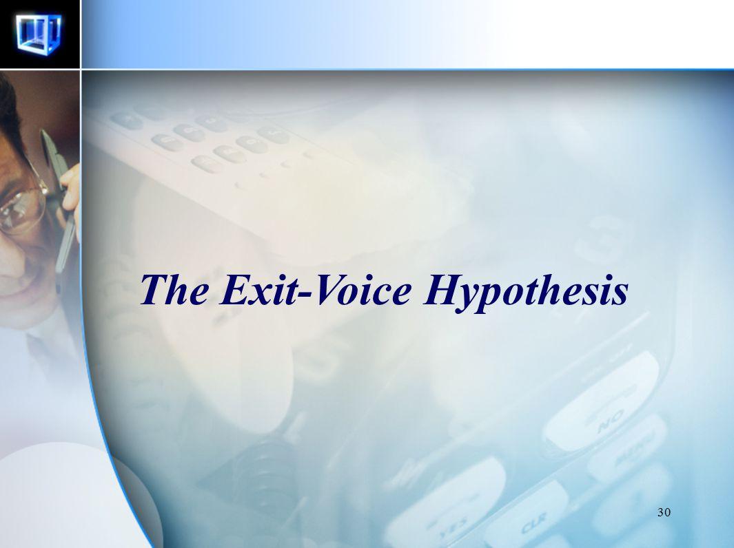 30 The Exit-Voice Hypothesis