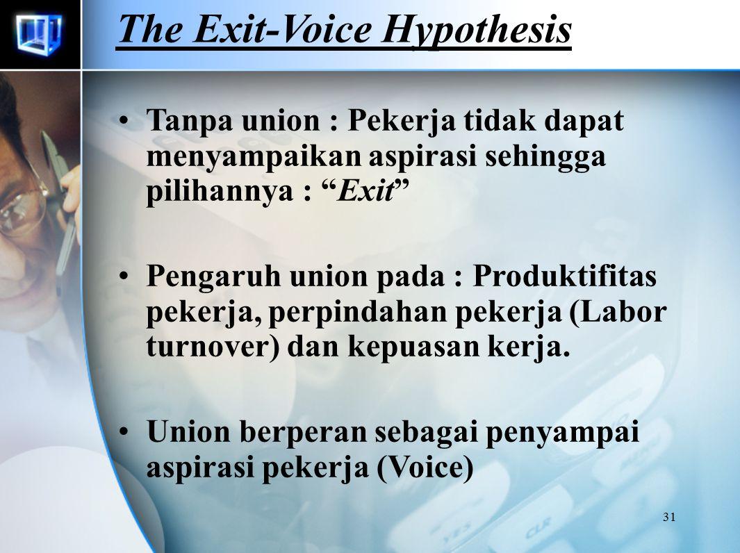31 The Exit-Voice Hypothesis Tanpa union : Pekerja tidak dapat menyampaikan aspirasi sehingga pilihannya : Exit Pengaruh union pada : Produktifitas pekerja, perpindahan pekerja (Labor turnover) dan kepuasan kerja.