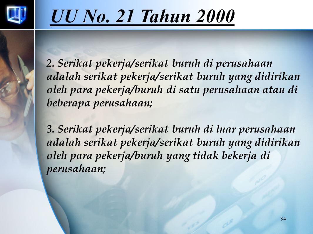 34 2. Serikat pekerja/serikat buruh di perusahaan adalah serikat pekerja/serikat buruh yang didirikan oleh para pekerja/buruh di satu perusahaan atau