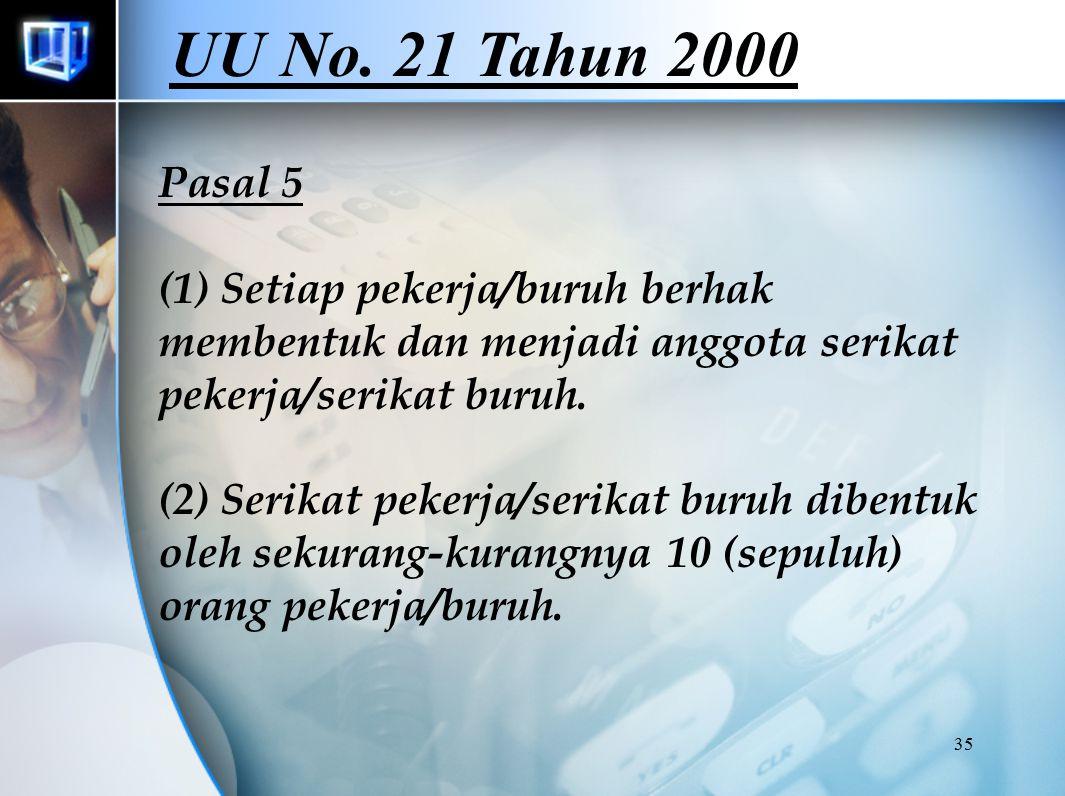 35 Pasal 5 (1) Setiap pekerja/buruh berhak membentuk dan menjadi anggota serikat pekerja/serikat buruh. (2) Serikat pekerja/serikat buruh dibentuk ole