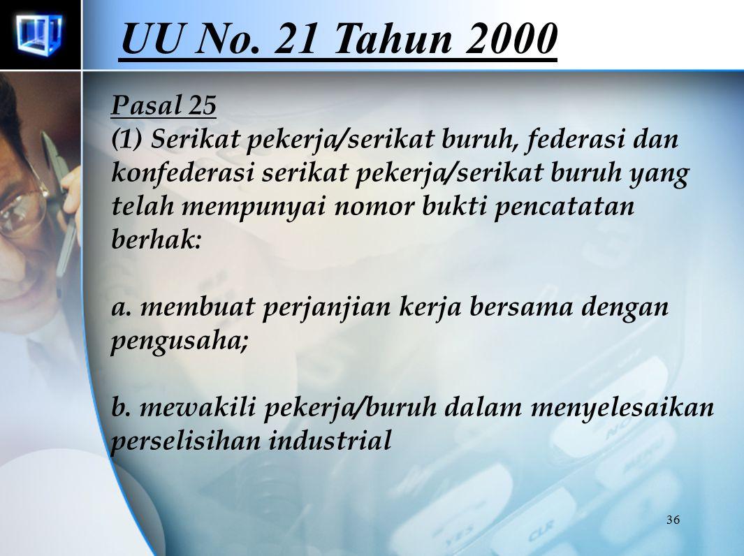 36 Pasal 25 (1) Serikat pekerja/serikat buruh, federasi dan konfederasi serikat pekerja/serikat buruh yang telah mempunyai nomor bukti pencatatan berhak: a.