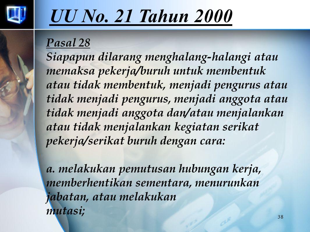 38 Pasal 28 Siapapun dilarang menghalang-halangi atau memaksa pekerja/buruh untuk membentuk atau tidak membentuk, menjadi pengurus atau tidak menjadi