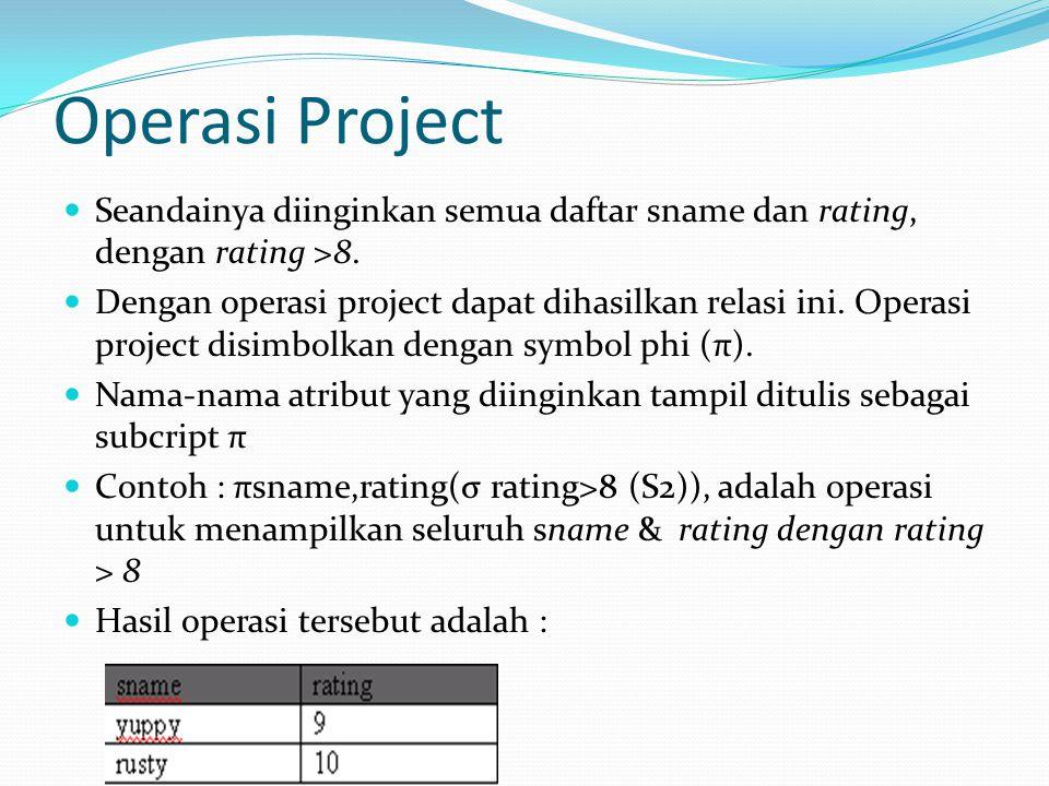 Operasi Project Seandainya diinginkan semua daftar sname dan rating, dengan rating >8. Dengan operasi project dapat dihasilkan relasi ini. Operasi pro