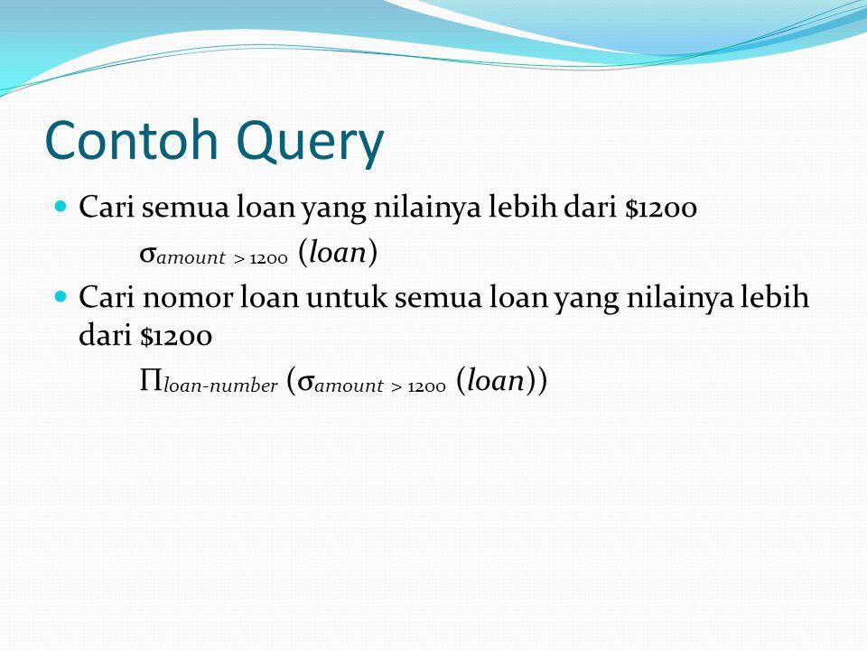 Contoh Query Cari semua loan yang nilainya lebih dari $1200 σ amount > 1200 (loan) Cari nomor loan untuk semua loan yang nilainya lebih dari $1200 Π l