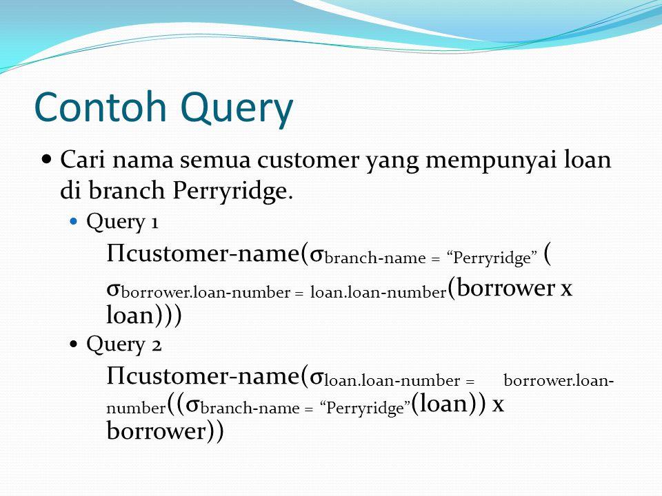 """Contoh Query Cari nama semua customer yang mempunyai loan di branch Perryridge. Query 1 Πcustomer-name(σ branch-name = """"Perryridge"""" ( σ borrower.loan-"""