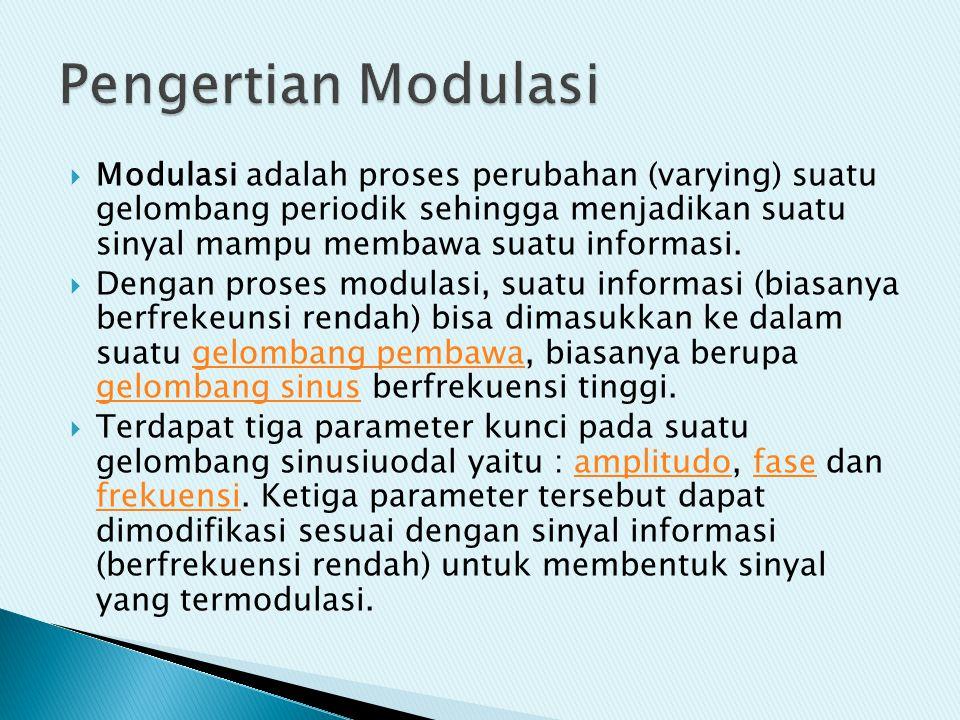  Modulasi adalah proses perubahan (varying) suatu gelombang periodik sehingga menjadikan suatu sinyal mampu membawa suatu informasi.  Dengan proses