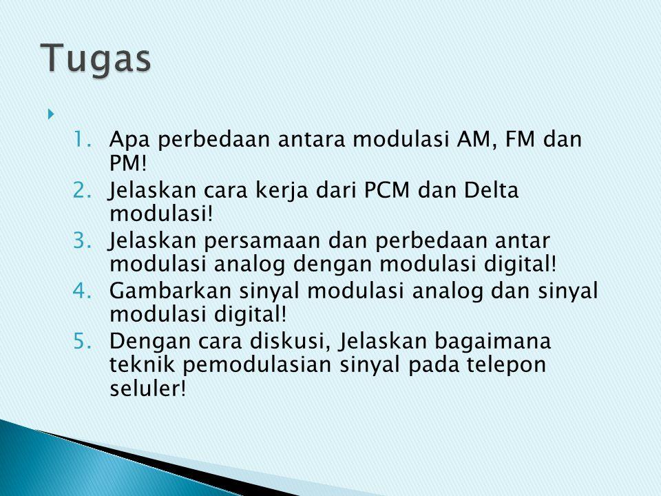  1.Apa perbedaan antara modulasi AM, FM dan PM! 2.Jelaskan cara kerja dari PCM dan Delta modulasi! 3.Jelaskan persamaan dan perbedaan antar modulasi