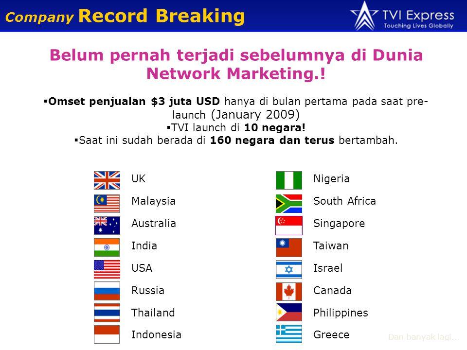 Belum pernah terjadi sebelumnya di Dunia Network Marketing..