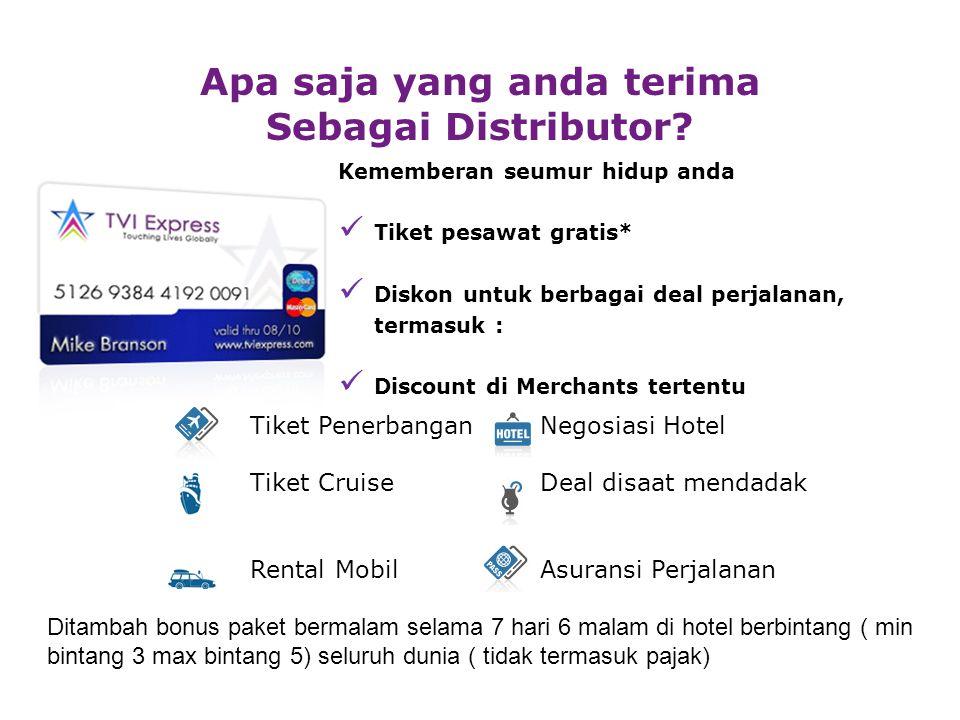 Kememberan seumur hidup anda Tiket pesawat gratis* Diskon untuk berbagai deal perjalanan, termasuk : Discount di Merchants tertentu Apa saja yang anda terima Sebagai Distributor.