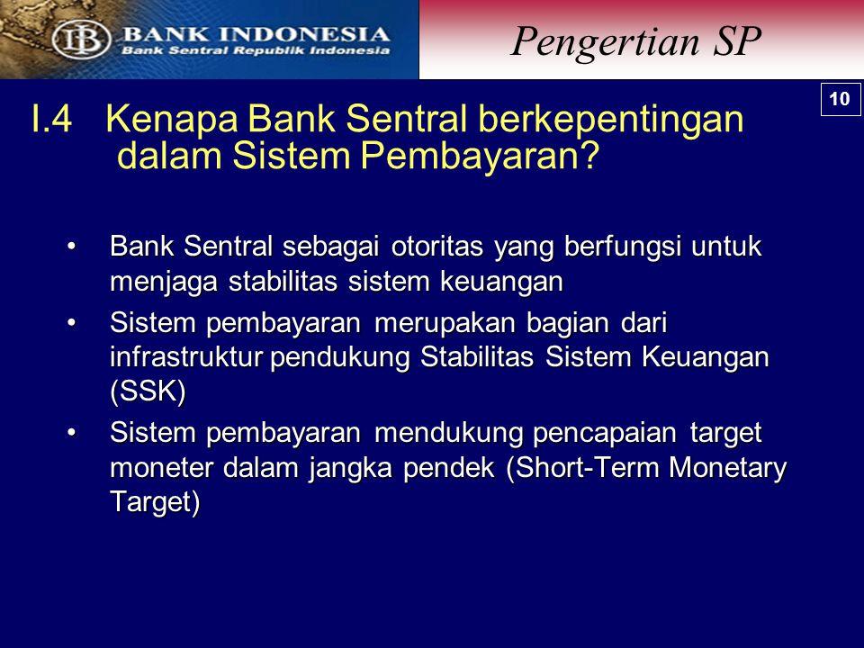 I.4 Kenapa Bank Sentral berkepentingan dalam Sistem Pembayaran.