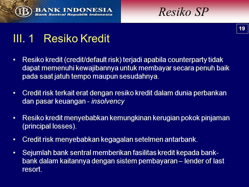 III. 1 Resiko Kredit Resiko SP 19 Resiko kredit (credit/default risk) terjadi apabila counterparty tidak dapat memenuhi kewajibannya untuk membayar se