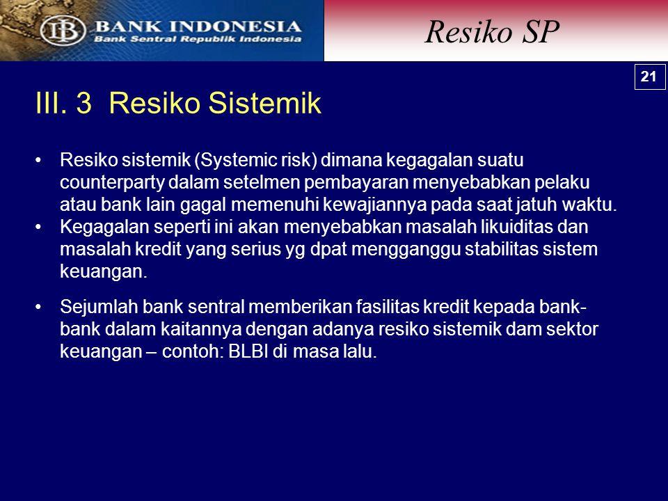 III. 3 Resiko Sistemik Resiko SP 21 Resiko sistemik (Systemic risk) dimana kegagalan suatu counterparty dalam setelmen pembayaran menyebabkan pelaku a