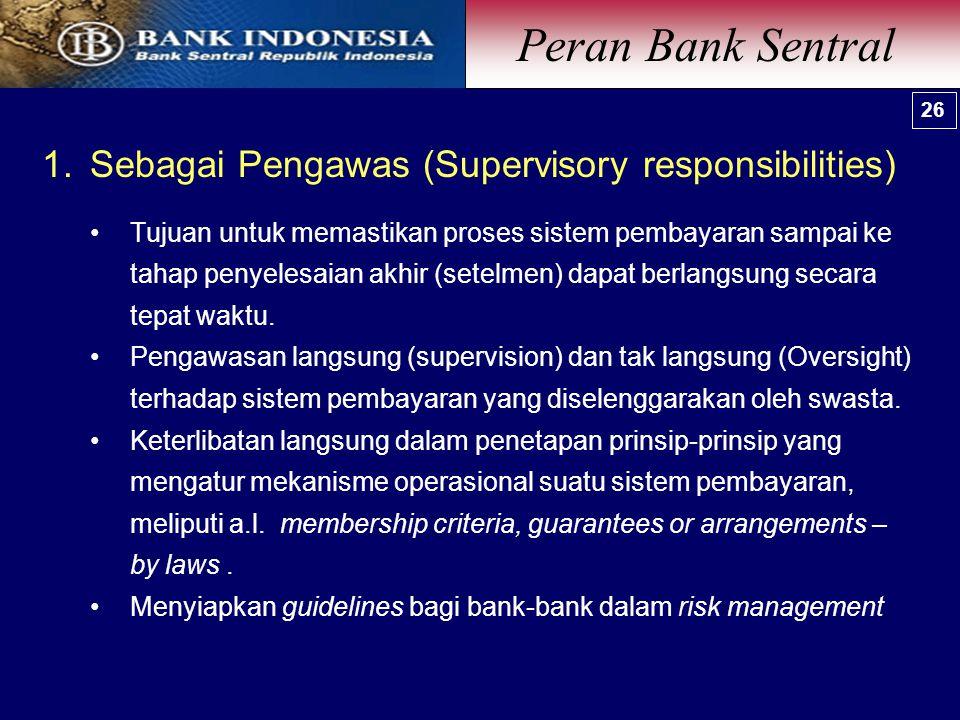 1.Sebagai Pengawas (Supervisory responsibilities) Tujuan untuk memastikan proses sistem pembayaran sampai ke tahap penyelesaian akhir (setelmen) dapat berlangsung secara tepat waktu.