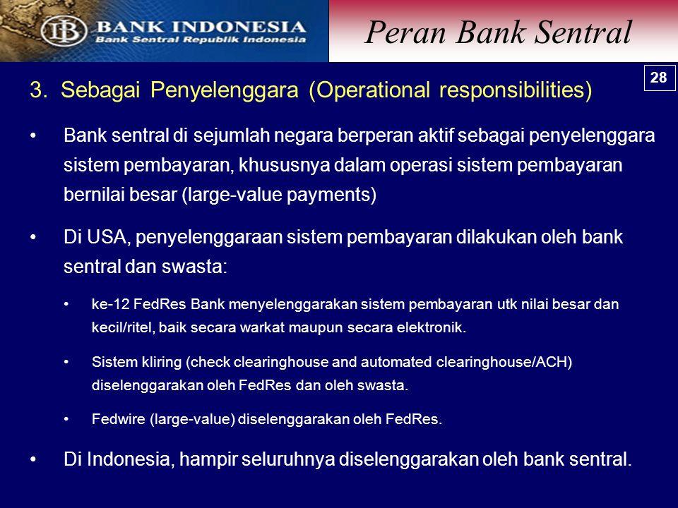 3. Sebagai Penyelenggara (Operational responsibilities) Bank sentral di sejumlah negara berperan aktif sebagai penyelenggara sistem pembayaran, khusus