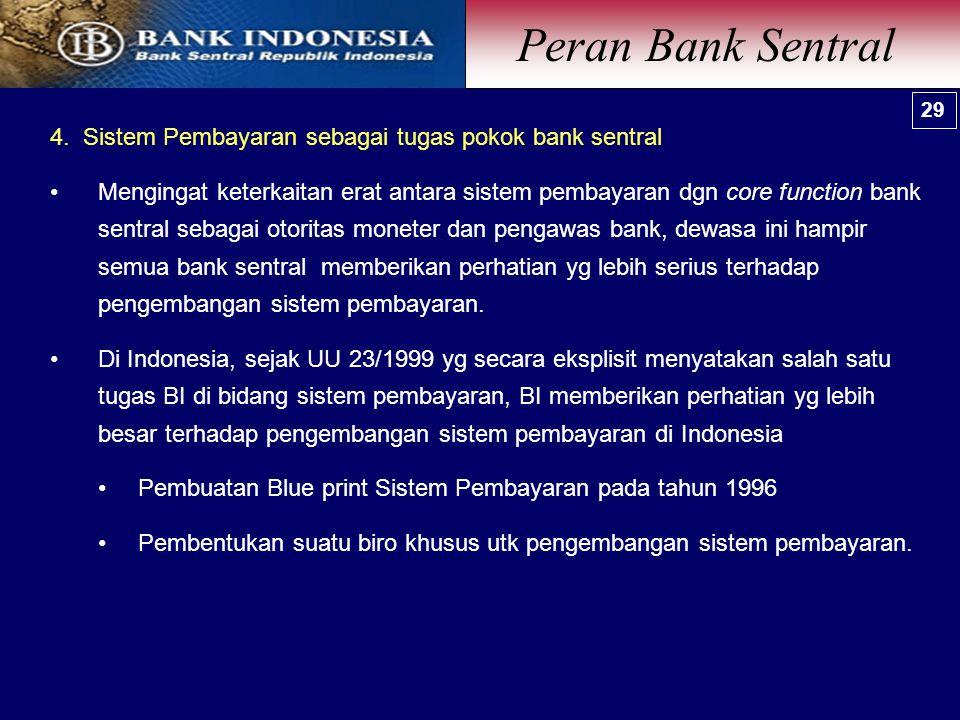 4. Sistem Pembayaran sebagai tugas pokok bank sentral Mengingat keterkaitan erat antara sistem pembayaran dgn core function bank sentral sebagai otori